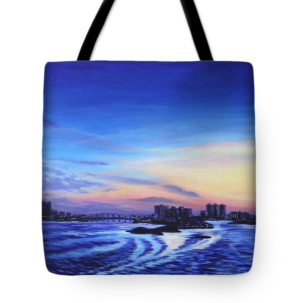 Tote Bag featuring the painting Clearwater Beach Sunset by Penny Birch-Williams