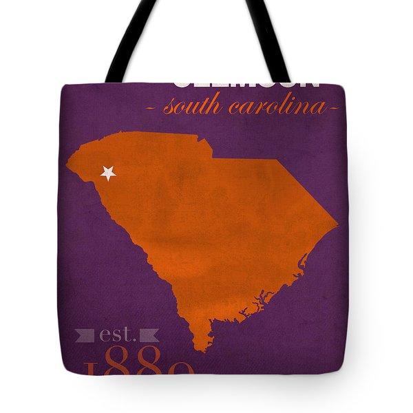 Clemson University Tigers College Town South Carolina State Map Poster Series No 030 Tote Bag