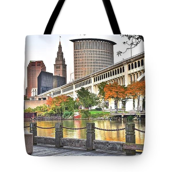 Cleveland Panorama Over The Cuyahoga Tote Bag