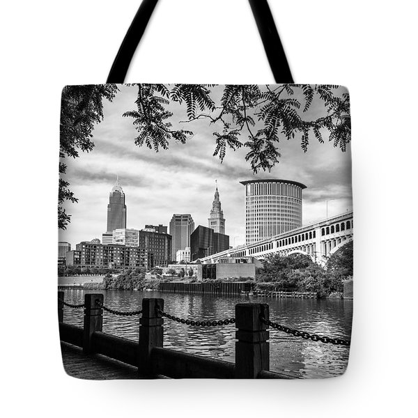 Cleveland River Cityscape Tote Bag by Dale Kincaid