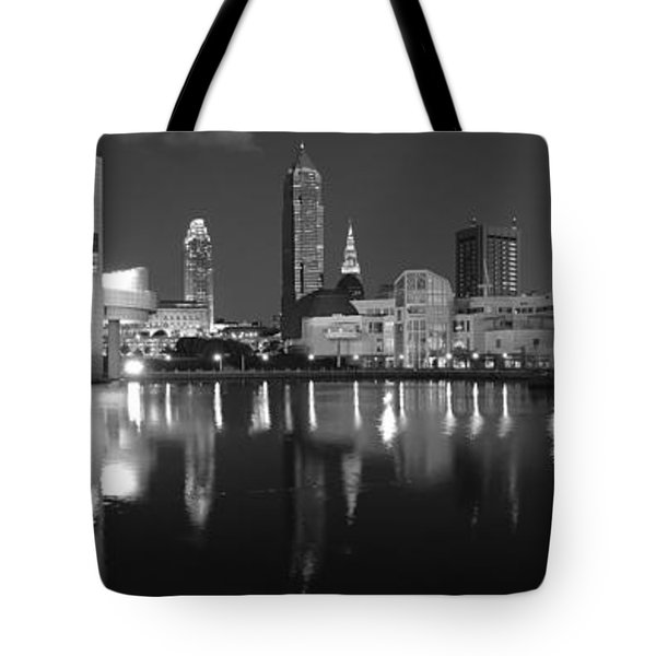 Cleveland Skyline At Dusk Black And White Tote Bag by Jon Holiday