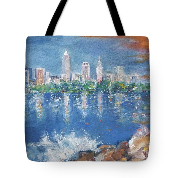 Cleveland Skyline Tote Bag by Mary Armstrong