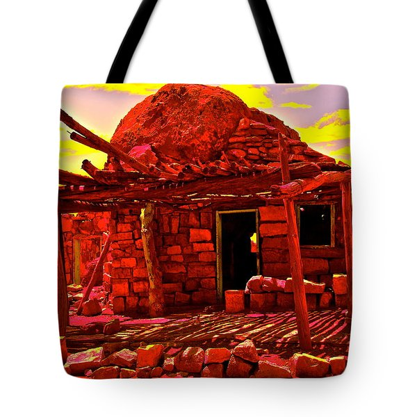 Cliff Dwellers In Red Tote Bag by Jim Hogg