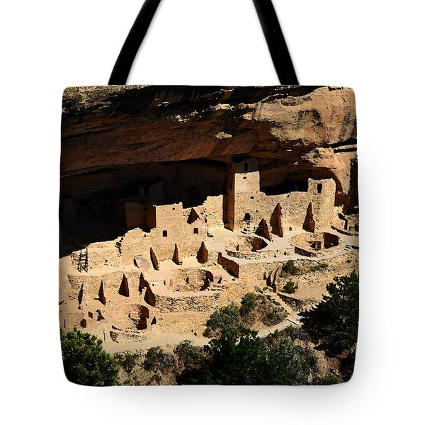 Cliff Palace At Mesa Verde National Park Anasazi Ruin Watercolor Digital Art Tote Bag