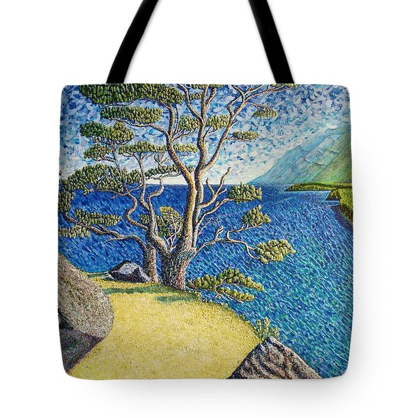 Tote Bag featuring the painting Cliff by Viktor Lazarev
