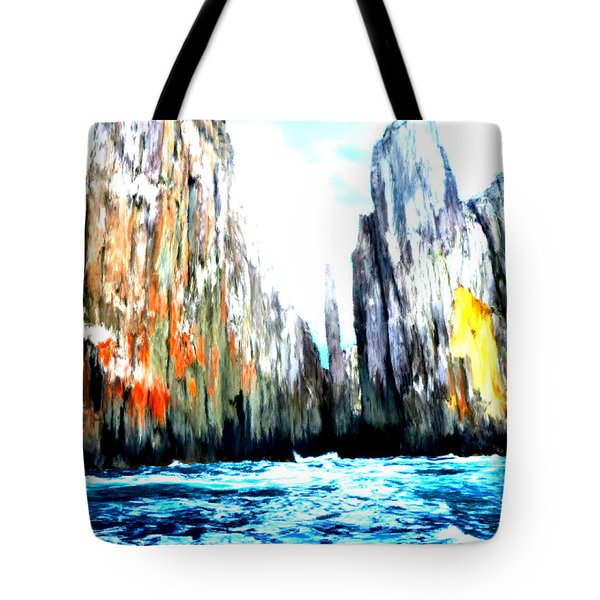 Tote Bag featuring the painting Cliffs By The Sea by Bruce Nutting