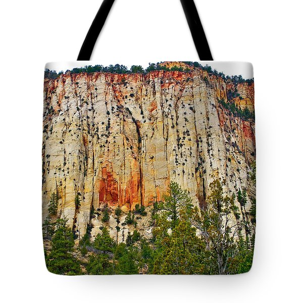 Cliffs Near Checkerboard Mesa Along Zion-mount Carmel Highway In Zion National Park-utah Tote Bag