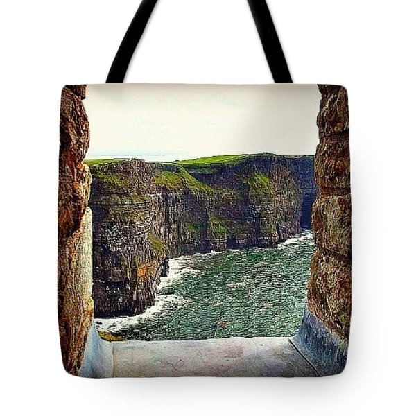 Cliffs Of Moher From O'brien's Tower Tote Bag by Tara Potts