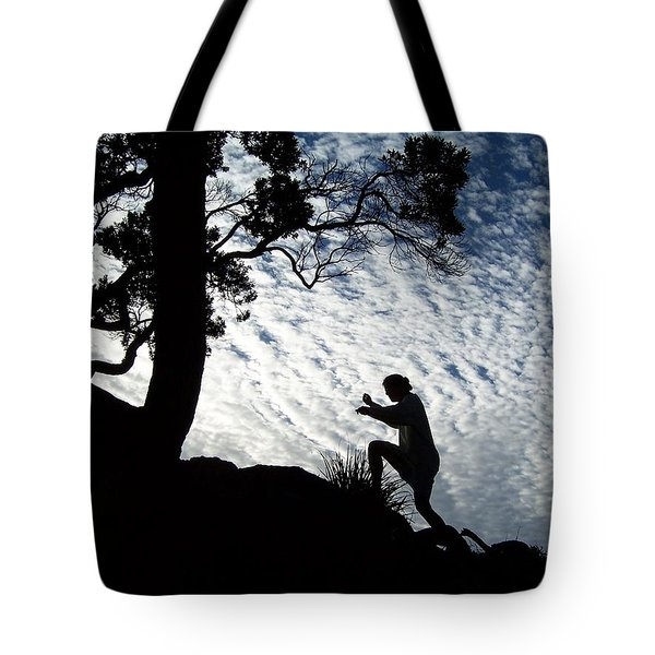 Climbing In The Sky Tote Bag by Peter Mooyman