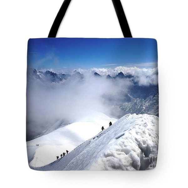 Climbing To The Aiguille Du Midi Tote Bag