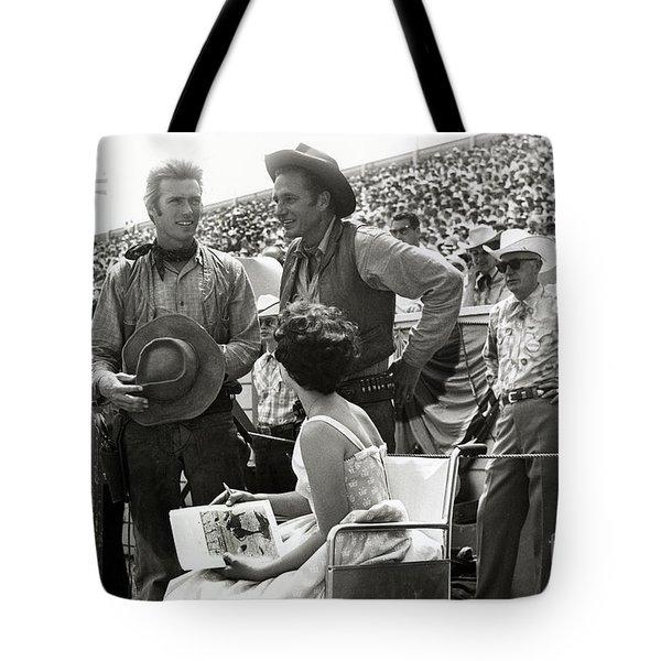 Clint Eastwood  Eric Fleming Characters Rowdy Yates Salinas California 1962 Tote Bag