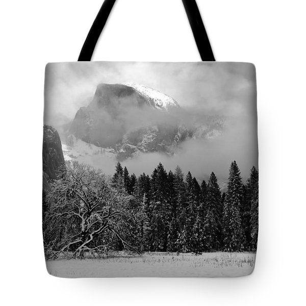 Cloaked In A Snow Storm - Monochrome Tote Bag by Heidi Smith