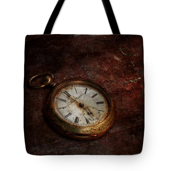 Clock - Time Waits Tote Bag by Mike Savad