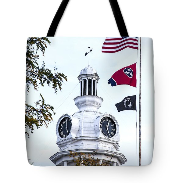 Clock Tower With Tennessee Mia Us Flag Art Tote Bag