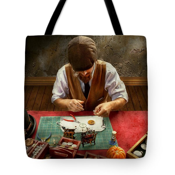Clockmaker - A Demonstration In Horology Tote Bag by Mike Savad