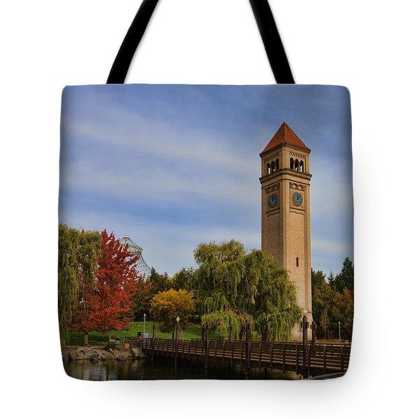 Clocktower Fall Colors Tote Bag