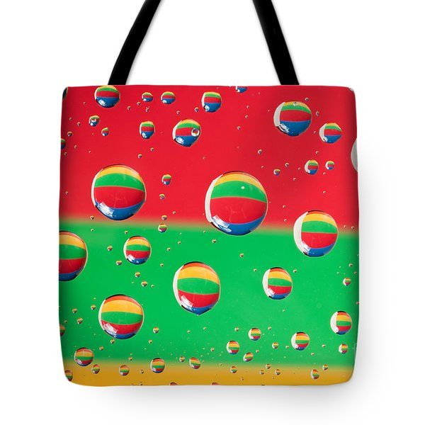 Clolrful Water Drop Reflections Tote Bag by Sharon Dominick