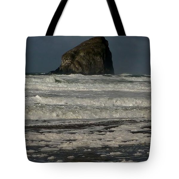 Tote Bag featuring the photograph Close Haystack Rock by Susan Garren