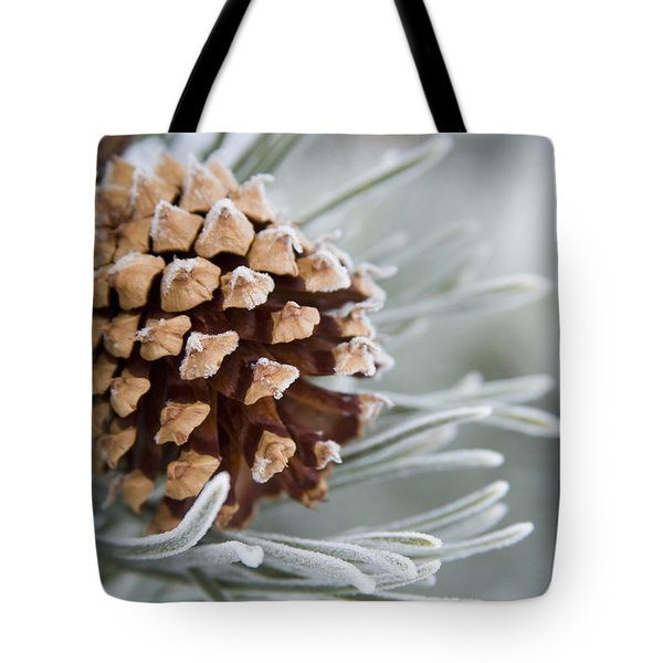 Close-up Image Of Frost-covered Pine Tote Bag