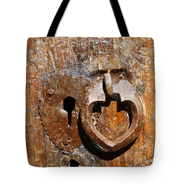 Close Up Of A Heart Shaped Lock On A Door In The Village Of Abyaneh In Iran Tote Bag by Robert Preston