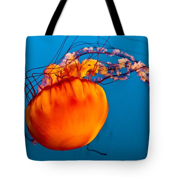 Tote Bag featuring the photograph Close Up Of A Sea Nettle Jellyfis by Eti Reid