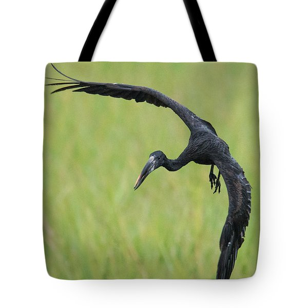 Close-up Of An Openbill Stork Flying Tote Bag