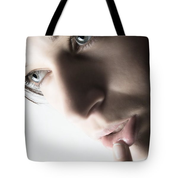 Close Up Of Beautiful Female Model Tote Bag by Michal Bednarek