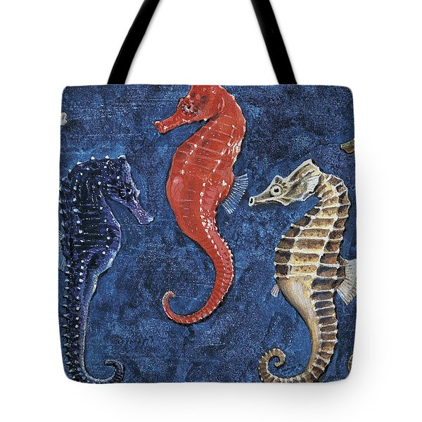 Close-up Of Five Seahorses Side By Side  Tote Bag