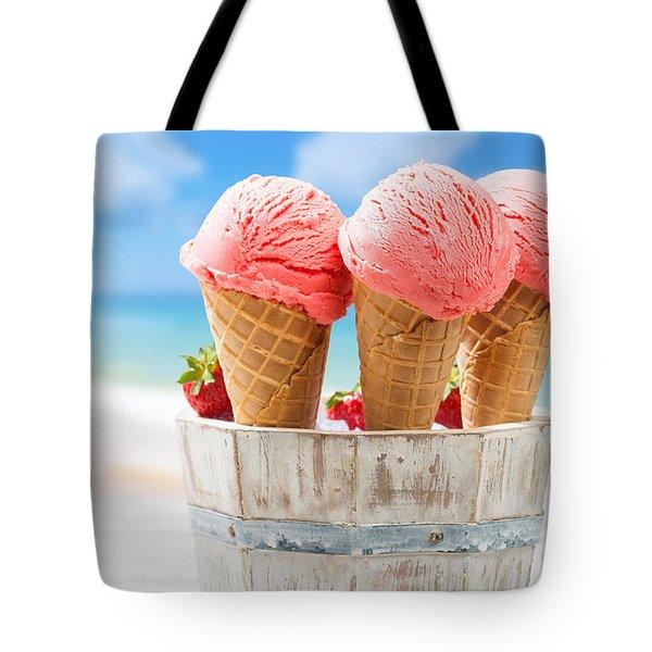 Close Up Strawberry Ice Creams Tote Bag