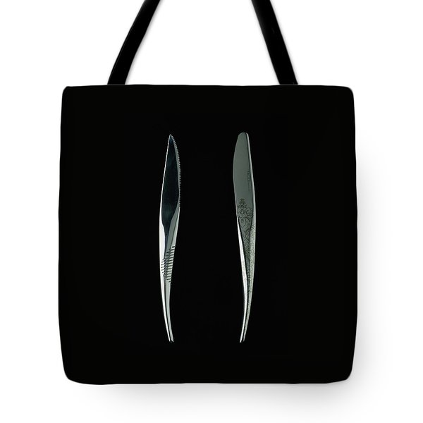 Close-up View Of Two Knives Tote Bag