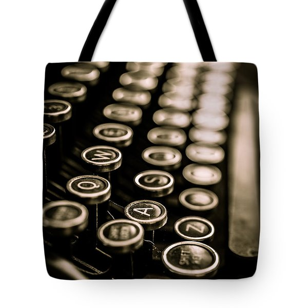 Tote Bag featuring the photograph Close Up Vintage Typewriter by Edward Fielding