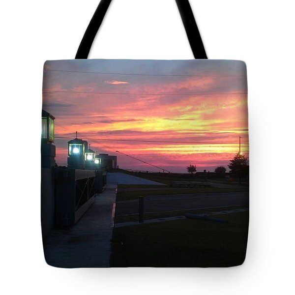 Closed Flood Gates Sunset Tote Bag by Deborah Lacoste