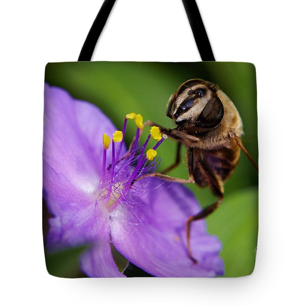Closeup Of A Bee On A Purple Flower Tote Bag