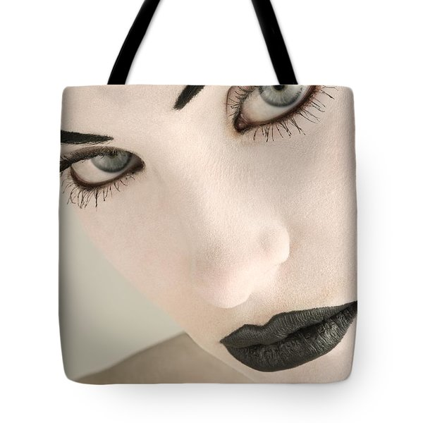 Closeup Of A Womans Face Tote Bag by Darren Greenwood