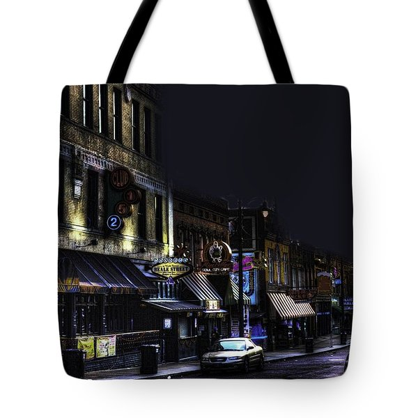 Memphis - Night - Closing Time On Beale Street Tote Bag