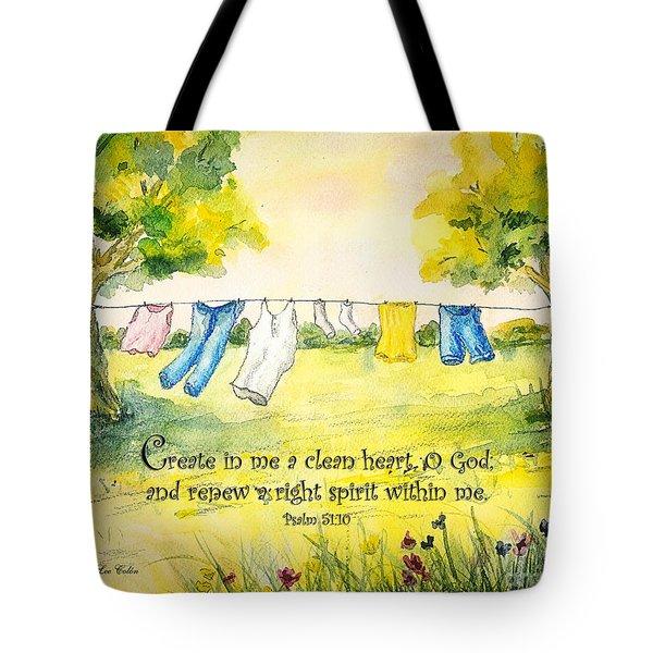 Clothesline Psalm 51 Tote Bag