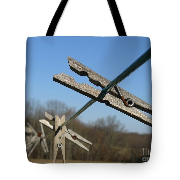 Tote Bag featuring the photograph Clothespin In Winter by Jane Ford