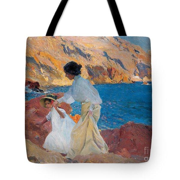 Clotilde And Elena On The Rocks Tote Bag by Joaquin Sorolla y Bastida