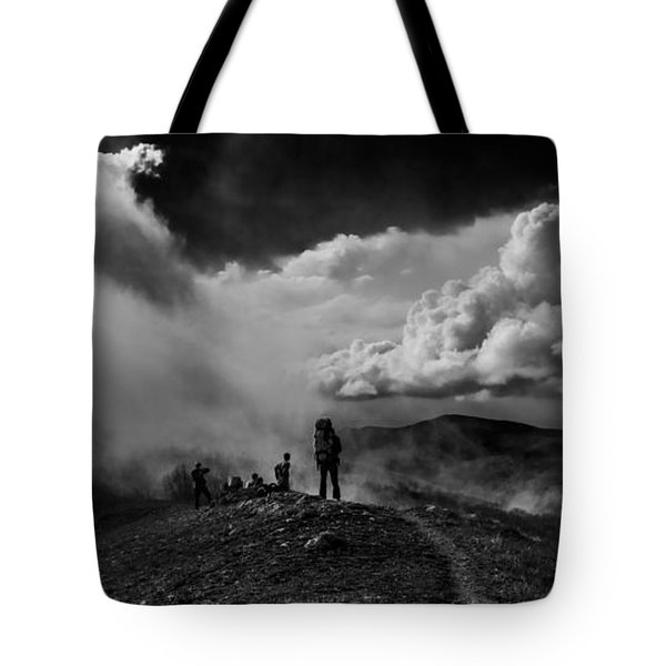 Tote Bag featuring the photograph Cloud Factory Bw by Dmytro Korol