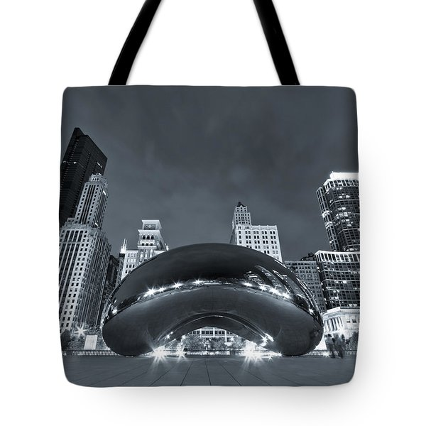 Cloud Gate And Skyline - Blue Toned Tote Bag by Adam Romanowicz