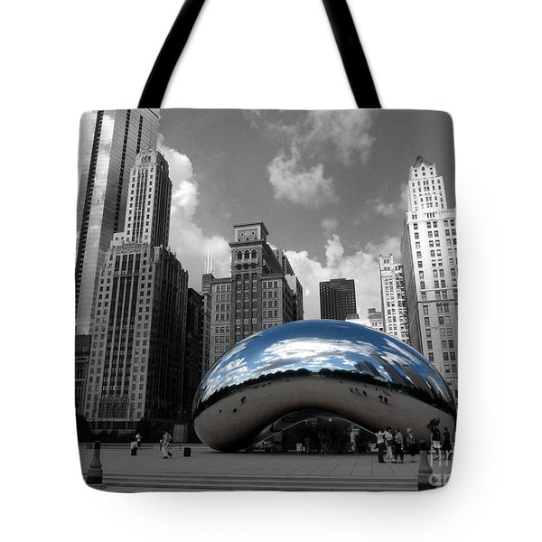 Cloud Gate B-w Chicago Tote Bag by David Bearden