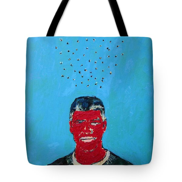 Cloud Of Flies Over Red George Tote Bag by Fabrizio Cassetta
