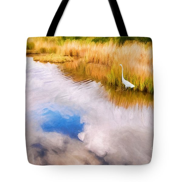 Cloud Reflection In Water Digital Art Tote Bag