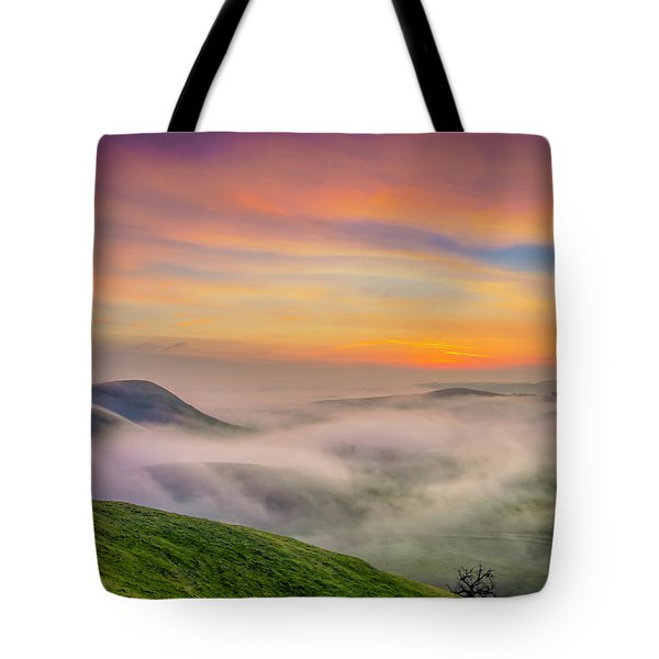 Clouds And Fog At Sunrise Tote Bag by Marc Crumpler