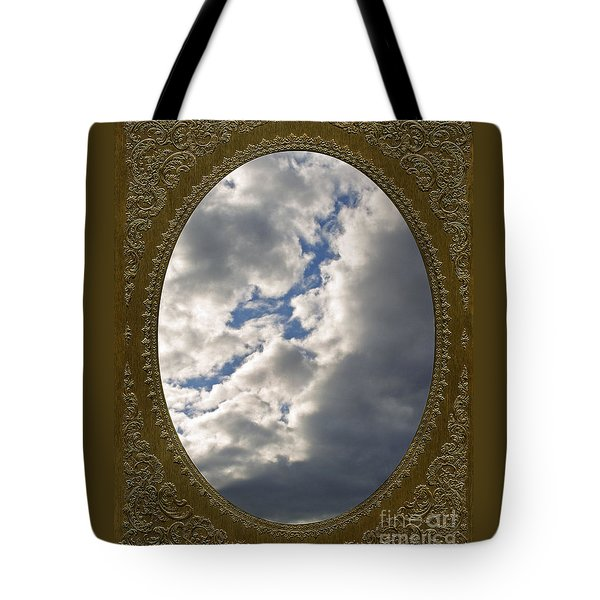 Clouds In Vintage Metalic Frame Tote Bag