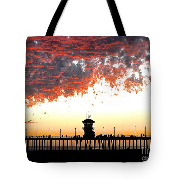 Clouds On Fire Tote Bag by Margie Amberge