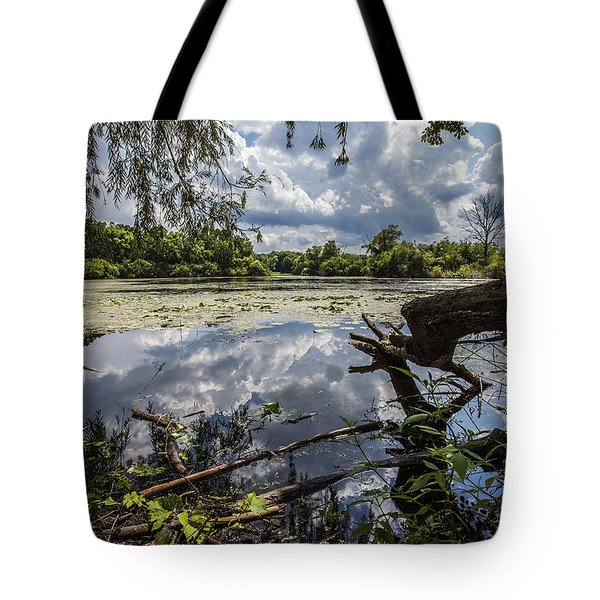 Clouds On The Water Tote Bag by CJ Schmit