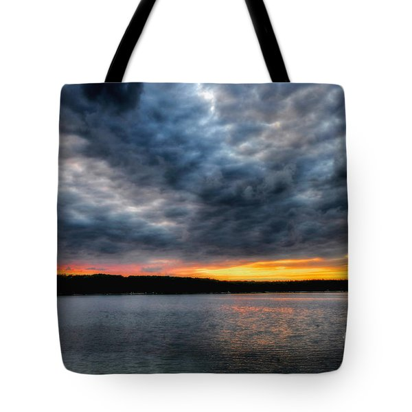 Tote Bag featuring the photograph Clouds Over Big Twin Lake by Trey Foerster