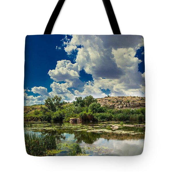 Clouds Over The River Tote Bag
