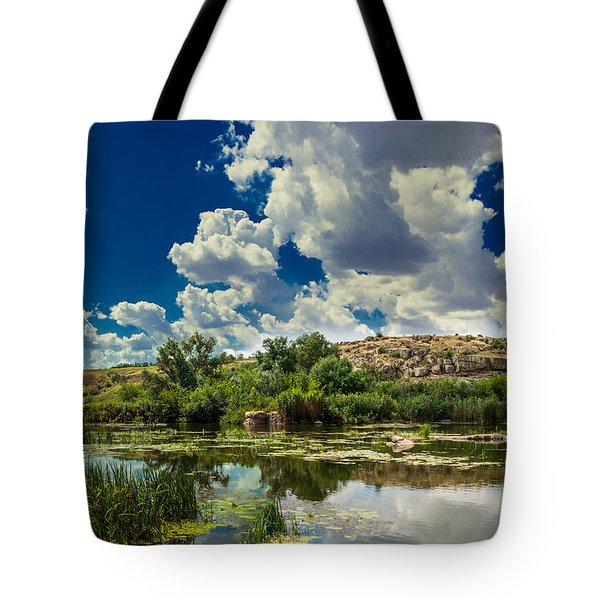 Tote Bag featuring the photograph Clouds Over The River by Dmytro Korol